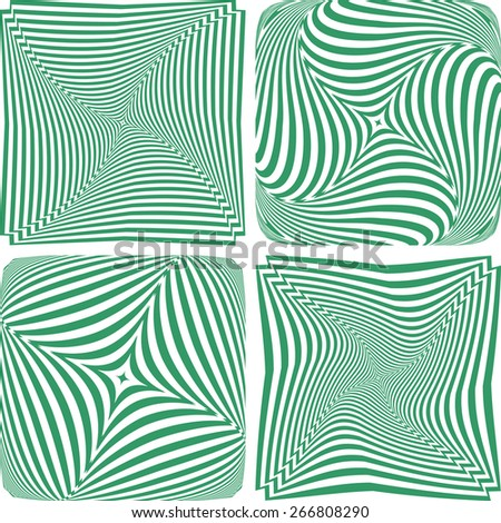 Rotation and twisting. Abstract designs set. Vector art. - stock vector