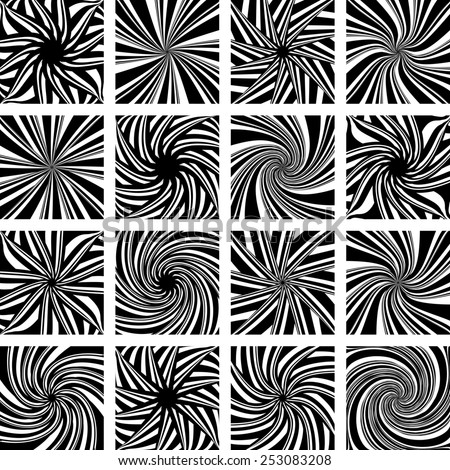 Rotation and twisting movement. Abstract design elements set. Vector art.  - stock vector