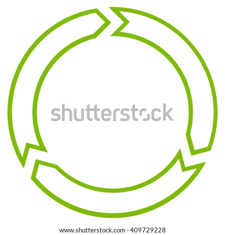 Rotation Circle vector icon. Style is contour icon symbol, eco green color, white background.