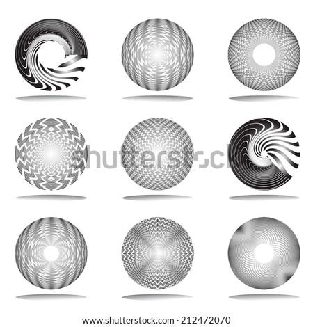Rotation design elements set. Vector art. - stock vector
