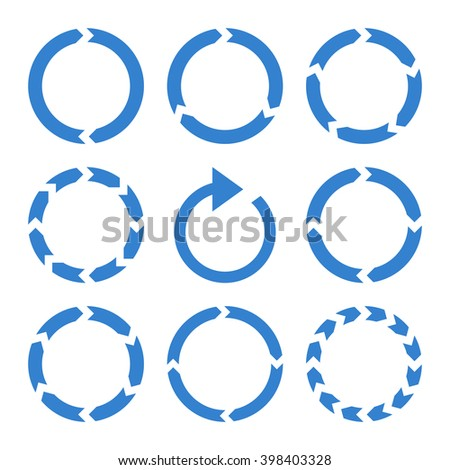 Rotation Direction vector icon set. Collection style is cobalt flat symbols on a white background. - stock vector