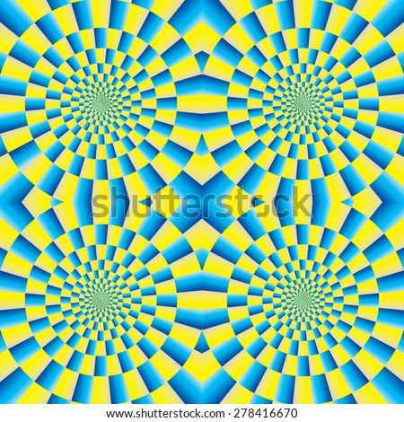 Rotation (motion illusion). Optical illusion of motion. Optical illusion background pattern. The optical illusion of movement executed in the form of rotating. Seamless background. - stock vector