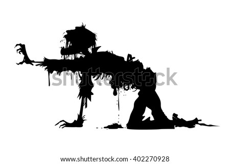 rotting zombie crawling on all fours - stock vector