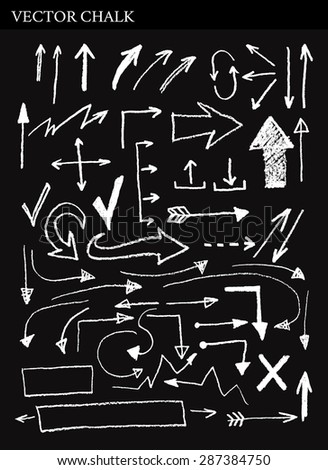 Rough freehand Hand Drawn Vector Chalk Arrows  Clip art. Vector scribbled chalkboard background. Chalk arrows Set.  - stock vector