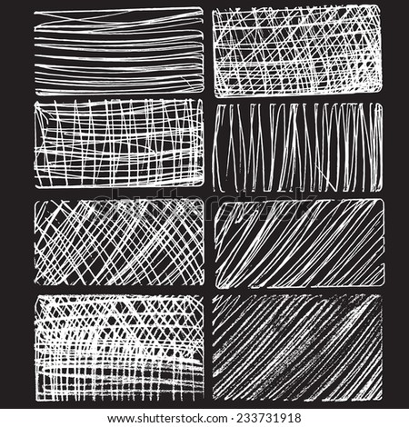 Rough hatching grunge drawing textures set. vector illustration - stock vector