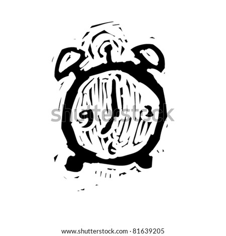 rough woodcut illustration of a alarm - stock vector