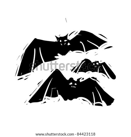 rough woodcut illustration of a halloween bats - stock vector