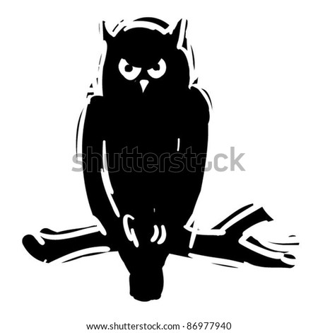 rough woodcut illustration of a halloween owl - stock vector