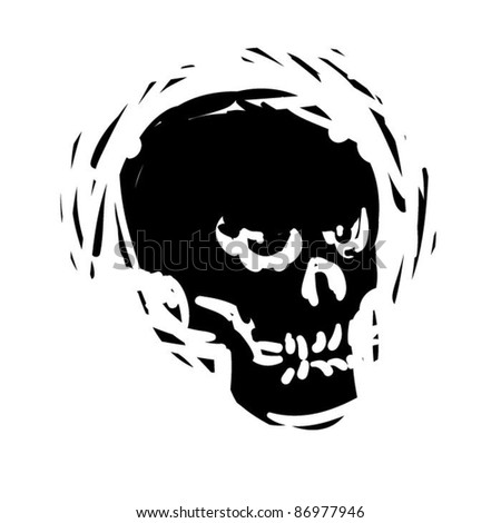 rough woodcut illustration of a halloween skull - stock vector