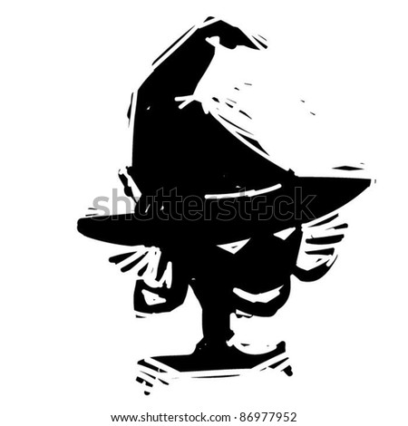 rough woodcut illustration of a halloween witch - stock vector