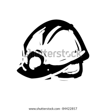 rough woodcut illustration of a helmet - stock vector