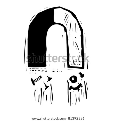 rough woodcut illustration of a magnet - stock vector
