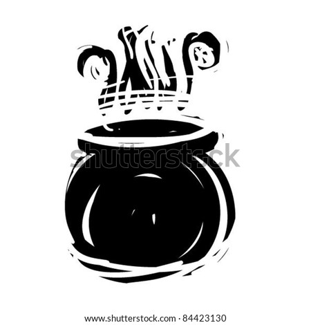 rough woodcut illustration of a witch cauldron - stock vector