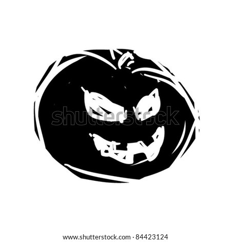 rough woodcut illustration of another halloween evil pumpkin - stock vector