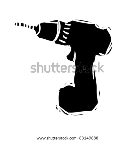 rough woodcut illustration of battery drill