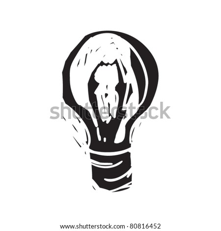 rough woodcut illustration of electric lamp - stock vector