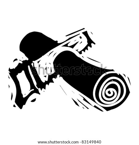 rough woodcut illustration of handsaw - stock vector