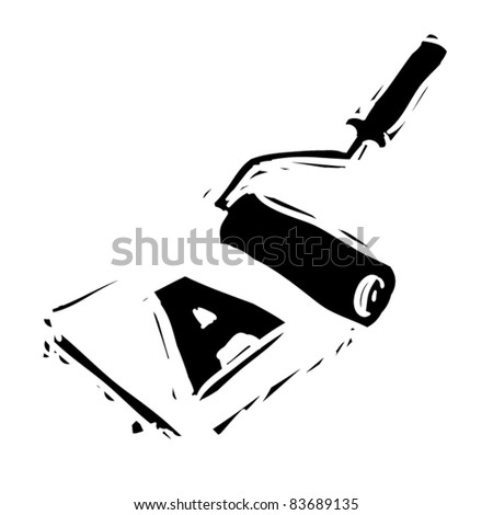 rough woodcut illustration of roller with image of letter - stock vector