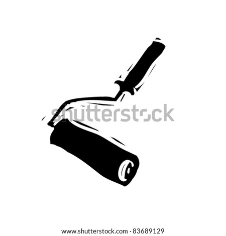 rough woodcut illustration of roller without paint - stock vector