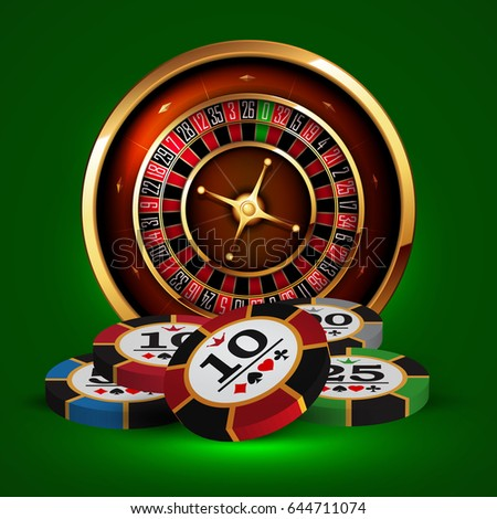 Roulette and chips on a green background