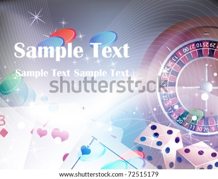 Roulette, cards, dice on a  abstract sparkling background - stock vector