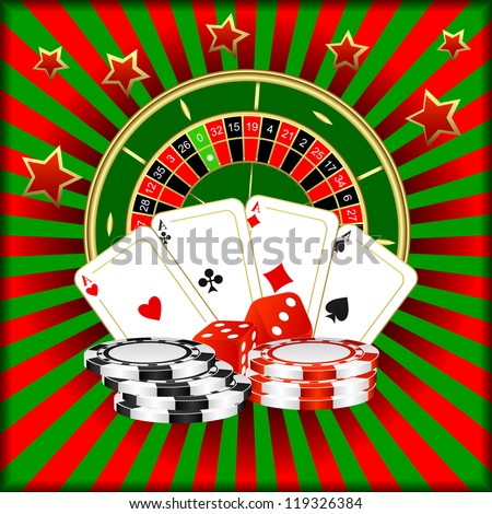 Roulette, playing cards, dice and poker chips on a green red background. - stock vector