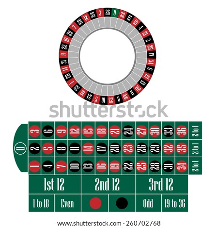 Roulette wheel and table vector set, casino table, gambling - stock vector