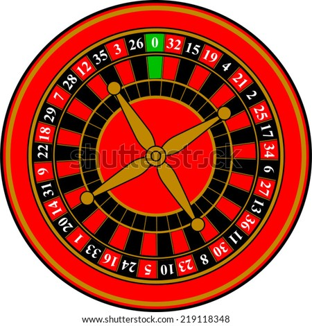 Roulette wheel vector in red black and gold - stock vector