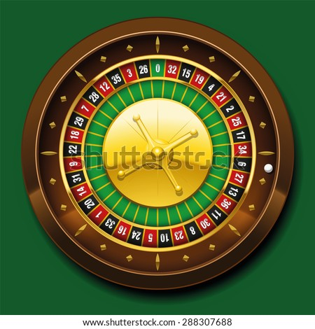Roulette wheel with french numbering sequence. Vector illustration on green background. - stock vector