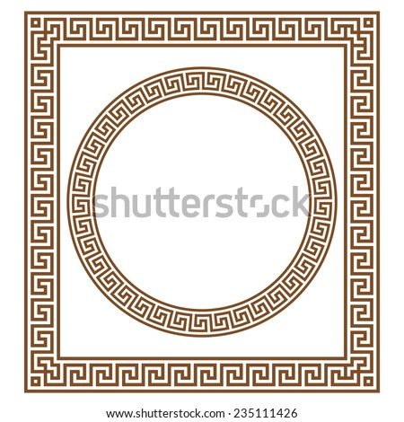 Round Rectangular Classical Roman Greek Frame Stock Vector HD ...