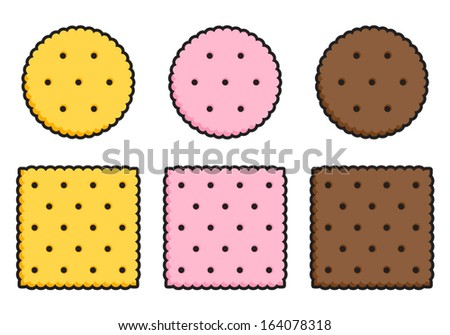 Round and square crispy crackers in simplified style. - stock vector