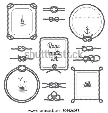 Round and square rope frames and various knots black and white set isolated vector illustration - stock vector
