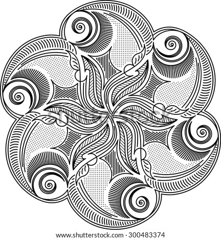 Round asymmetrical decorative element in mono line style- lace mandala, zentangle decor. Stylized vector flower for design or tattoo.  - stock vector