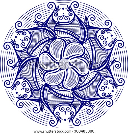Round asymmetrical decorative element - lace mandala in zentangle style. Stylized vector flower, sun symbol for design or tattoo.  - stock vector