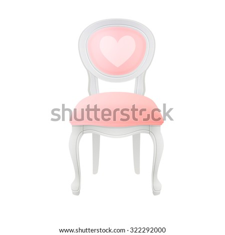 round back dining white vintage chair with hart - stock vector