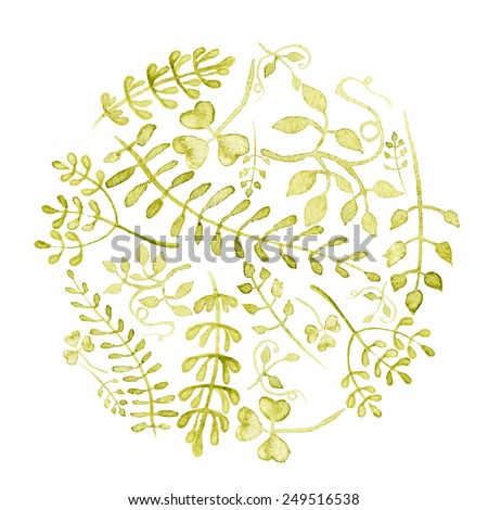 Round background made of various leaves in watercolor. Hand-painted watercolor design elements. Floral motifs. Eps10 - stock vector