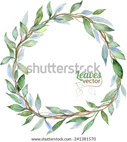 Round background with green leaves, watercolor illustration in vector - stock vector