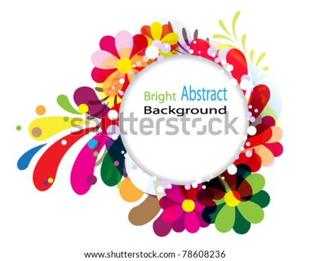 Round  background with transparent floral elements - stock vector
