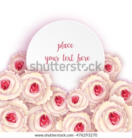 round banner icon card with white roses.
