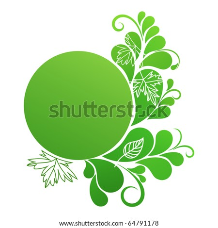 Round banner in green colors with natural ornament - stock vector