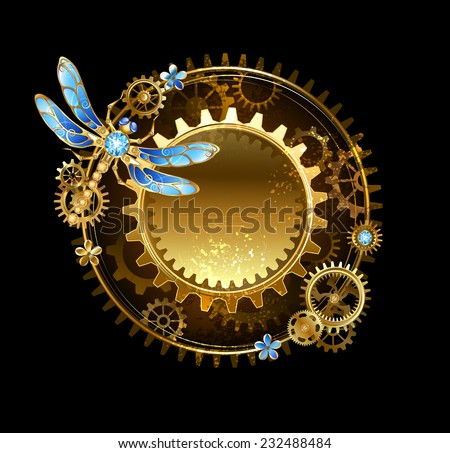 round banner with a mechanical dragonfly and gears on a black background. - stock vector
