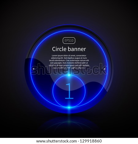 Round banner with deep blue glowing elements. - stock vector