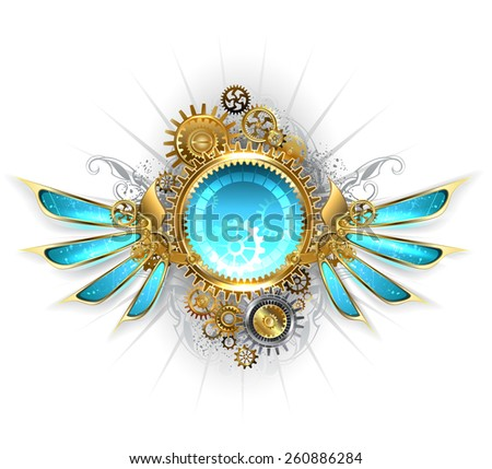 round banner with gold and brass gears, decorated with blue glass mechanical wings on a white background - stock vector