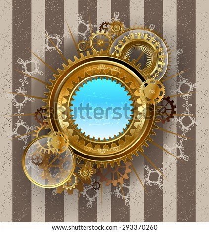 round banner with gold and brass gears, equipped with transparent glass lens on a light striped background.