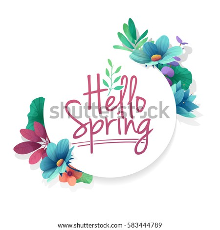 Round Banner With The Hello Spring Logo. Card For Spring Season With White  Frame And