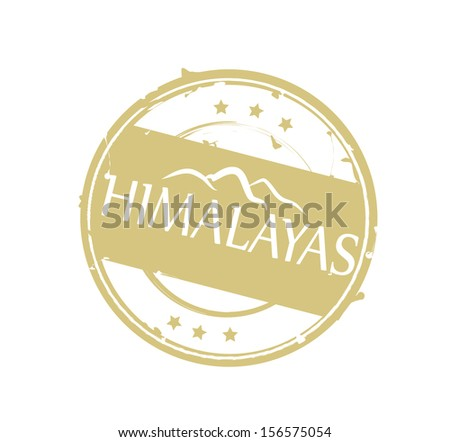 Round beige retro stylized rubber stamp Himalayas VECTOR - stock vector
