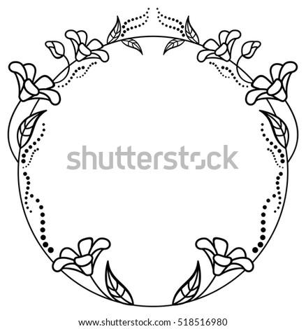 Round Black White Frame Outline Decorative Stock Vector (2018 ...