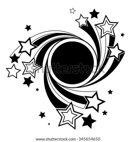 round black banner with black outline stars on a white background.