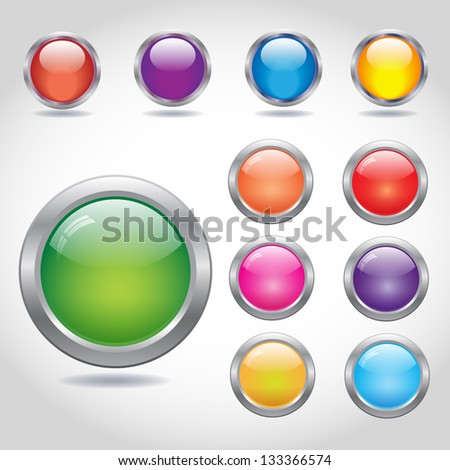 Round blank web buttons with metal rings shiny glass colorful set