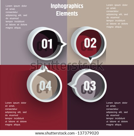 Round blocks with numbers. Can be used for infographics - stock vector